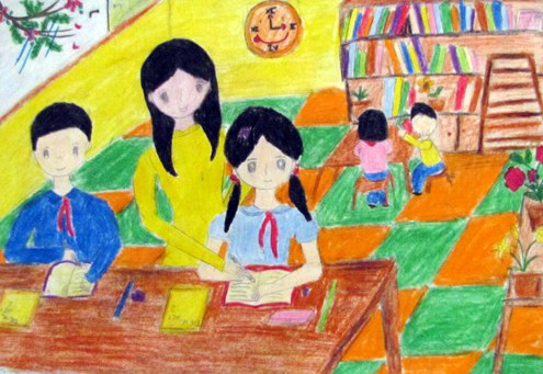 Tranh vẽ cô giáo giảng bài